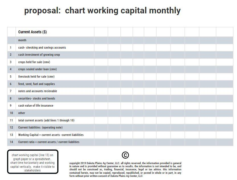 Farm Working Capital Template